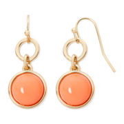 Liz Claiborne® Gold-Tone Orange Double Drop Earrings