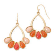 Liz Claiborne® Gold-Tone Orange Teardrop Earrings