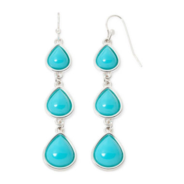 jcpenney.com | Liz Claiborne® Silver-Tone Aqua Linear Earrings