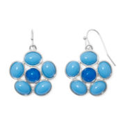 Liz Claiborne® Blue Stone Silver-Tone Flower Drop Earrings