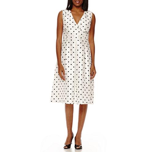 Black Label by Evan-Picone Sleeveless Polka Dot A-Line Dress
