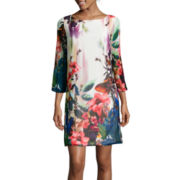 Isabelle & Nina 3/4-Sleeve Print Shift Dress