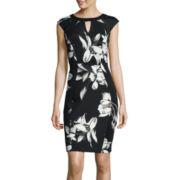 Sangria Cap-Sleeve Floral Print Sheath Dress