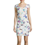 Sangria Cap-Sleeve Printed Sheath Dress