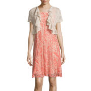 Perceptions Printed-Lace Jacket Dress
