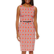 London Style Collection Sleeveless Print Sheath Dress