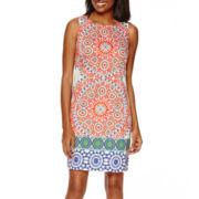 London Style Collection Sleeveless Print Sheath Dress