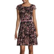 R&K Originals® Short-Sleeve Floral Fit-and-Flare Dress