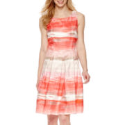 Studio 1® Sleeveless Stripe Fit-and-Flare Dress