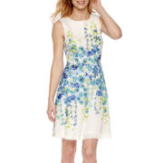 Studio 1® Floral Print Lace Fit-and-Flare Dress