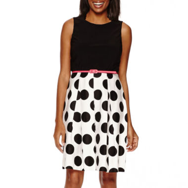jcpenney.com | R&K Originals® Sleeveless Polka Dot Skirt Fit-and-Flare Dress