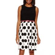 R&K Originals® Sleeveless Polka Dot Skirt Fit-and-Flare Dress