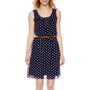 Alyx® Sleeveless Chiffon Dot Fit-and-Flare Dress