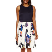 Danny & Nicole® Sleeveless Contrast Print Fit-and-Flare Dress