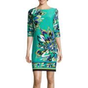 Studio 1® 3/4 Sleeve Floral Print Shift Dress