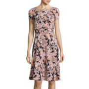 Perceptions Short-Sleeve Paisley A-Line Dress