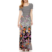 Trulli Short-Sleeve Stripe and Floral Print Maxi Dress