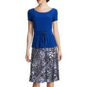 Perceptions Short-Sleeve Printed A-Line Dress