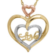 14K Gold Over Silver/Sterling Silver Diamond Accent Heart Pendant Necklace
