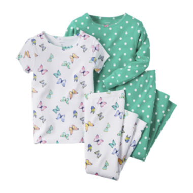 jcpenney.com | Carter's® 4-pc. Butterfly & Polka Dot Pajama Set - Baby Girls newborn-24m