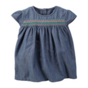 Carter's® Cap-Sleeve Embroidered Denim Top - Preschool Girls 4-6x