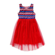 Youngland® Sleeveless Americana Chevron Hi-Low Dress - Preschool Girls 4-6x