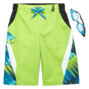 ZeroXposur® Blocked Cascade Swim Trunks with Goggles - Boys 8-20