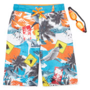 Zero Xposur® Shark Danger Swim Trunks With Goggles - Boys 8-20