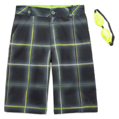 jcpenney.com | ZeroXposur® Beach 2 Street Plaid Swim Trunks with Goggles - Boys 8-20