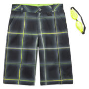 ZeroXposur® Beach 2 Street Plaid Swim Trunks with Goggles - Boys 8-20