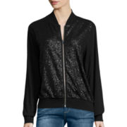 i jeans by Buffalo Long-Sleeve Zip-Front Sequin Jacket