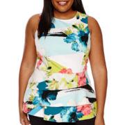Worthington® Sleeveless Flounce Peplum Shirt - Plus