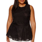 Worthington® Sleeveless Pleated Mesh Peplum Top - Tall