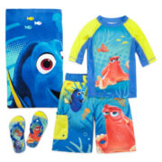 Disney Collection Dory Boys Rash Guard, Trunks, Beach Towel or Flip-flops