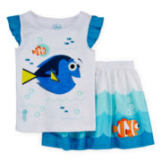 Disney Collection Finding Dory Flutter-Sleeve Top and Skirt Set - Girls 7-16
