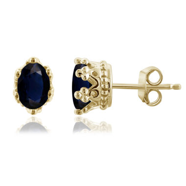 jcpenney.com | Oval Blue Sapphire 14K Gold Over Silver Stud Earrings