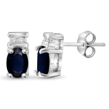 jcpenney.com | Diamond Accent Oval Blue Sapphire Sterling Silver Stud Earrings