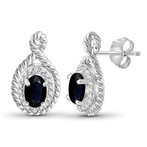 Diamond Accent Oval Blue Sapphire Sterling Silver Stud Earrings