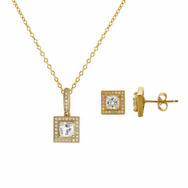 jcpenney.com | Womens 2-pc. 4 CT. T.W. White Cubic Zirconia 14K Gold Over Silver Jewelry Set