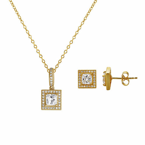 Womens 2-pc. 4 CT. T.W. White Cubic Zirconia 14K Gold Over Silver Jewelry Set