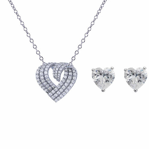 Womens 2-pc. 5 CT. T.W. White Cubic Zirconia Sterling Silver Jewelry Set