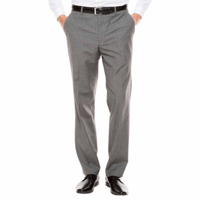 Men's JF Texture Stretch Charcoal Flat-Front Straight-Leg Slim Pants