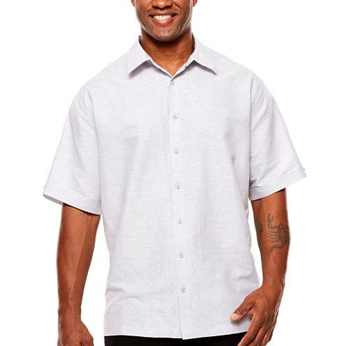 Havanera Short Sleeve Geometric Button-Front Shirt-Big and Tall