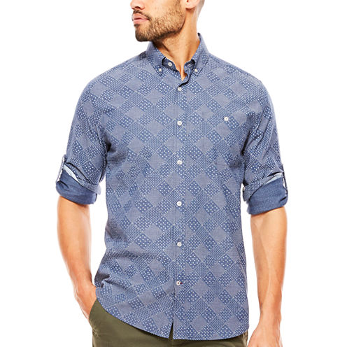 ARGYLECULTURE Roll Sleeve Button-Front Shirt