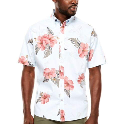 ARGYLECULTURE Short Sleeve Dots Button-Front Shirt