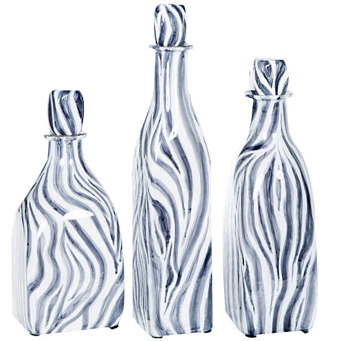 "Knox And Harrison 14"" Striped Decorative Bottles"