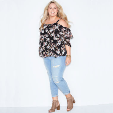 jcpenney.com | Boutique + 3/4 Sleeve Scoop Neck Blouse-Plus