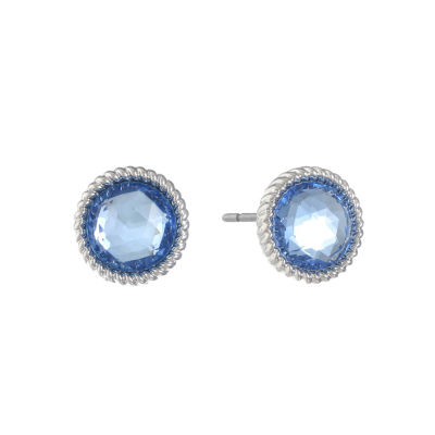 Monet Jewelry Monet Blue and Silver-Tone Button Earrings QfEMXwi0GY
