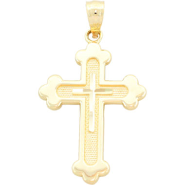 jcpenney.com | 14K Yellow Gold Diamond-Cut Cross Charm