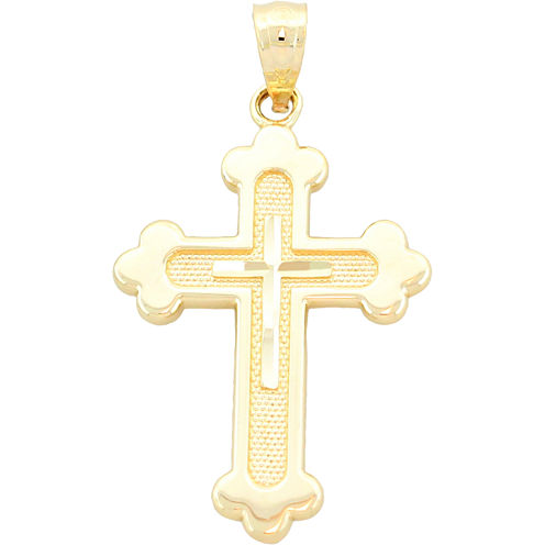14K Yellow Gold Diamond-Cut Cross Charm